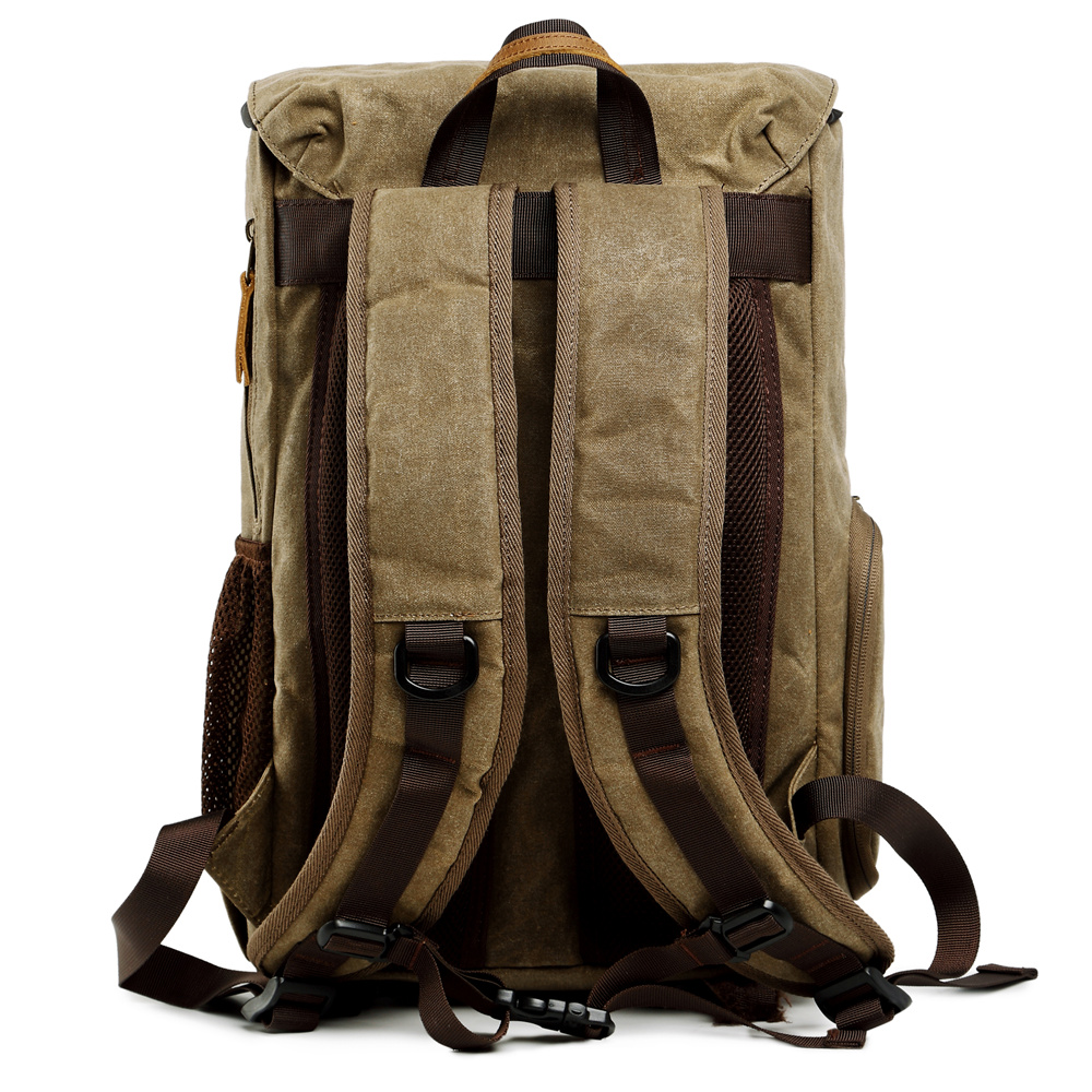 Toile étanche extérieure à la mode Vintage DSLR sac à dos hommes femmes photographie sac à bandoulière pour Canon Nikon Sony numérique - 5