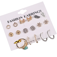 9 Pcs/Set New Fashion Gold Color Crystal Swallow Stud Earrings For Women Vintage Hand Earring Set Boho Punk Jewelry