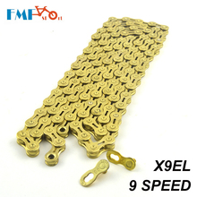 FMF Gold Bike Chain 9S Speed Hollow X9 EL Durable Bicycle Chian 116 Link For MTB Mountain Road Bicycle Parts 2017 new arrival japan izumi track single speed chian fix gear speed chian
