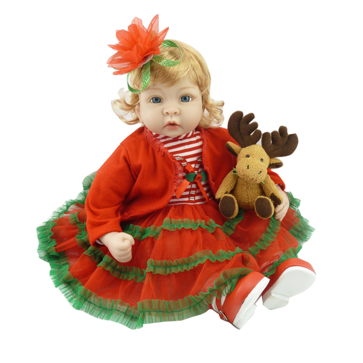 22 inch new arrival Christmas dress Silicone reborn dolls for girls 56 cm silicone baby born doll toys toddler Babies vinyl toy free shipping 70 cm 28 vinyl and pp cotton reborn babies girls large size girls toddler soft silicone baby dolls toys for child