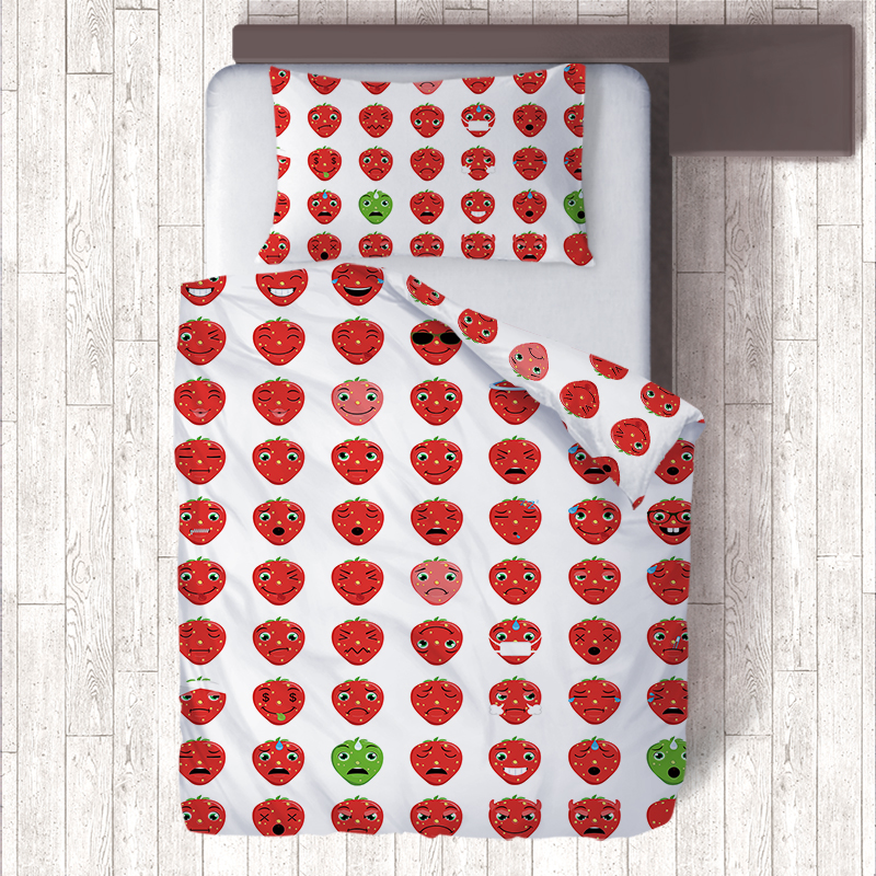 US $29 33 20% OFF Red Strawberry Emoji Bedding Sets Housse Couette,Kids Bed  Quilt Covers Single Size Duvet Cover & Pillow Cases Christmas Gifts-in