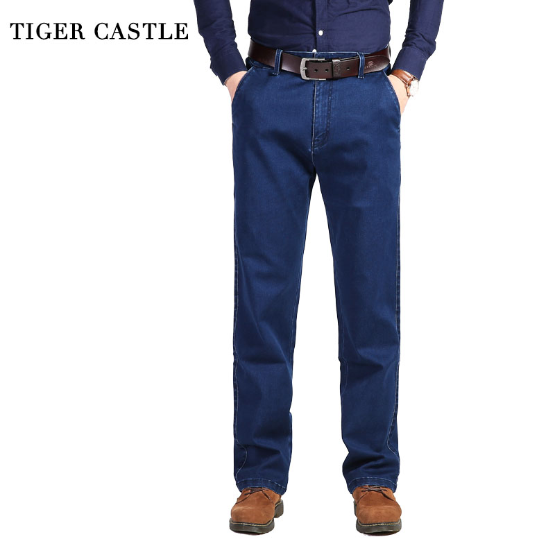 TIGER CASTLE Thick Blue Winter Jeans Men Stretch Designer Male Baggy Denim Pants Classic High Waist Men's Denim Overalls men s cowboy jeans fashion blue jeans pant men plus sizes regular slim fit denim jean pants male high quality brand jeans