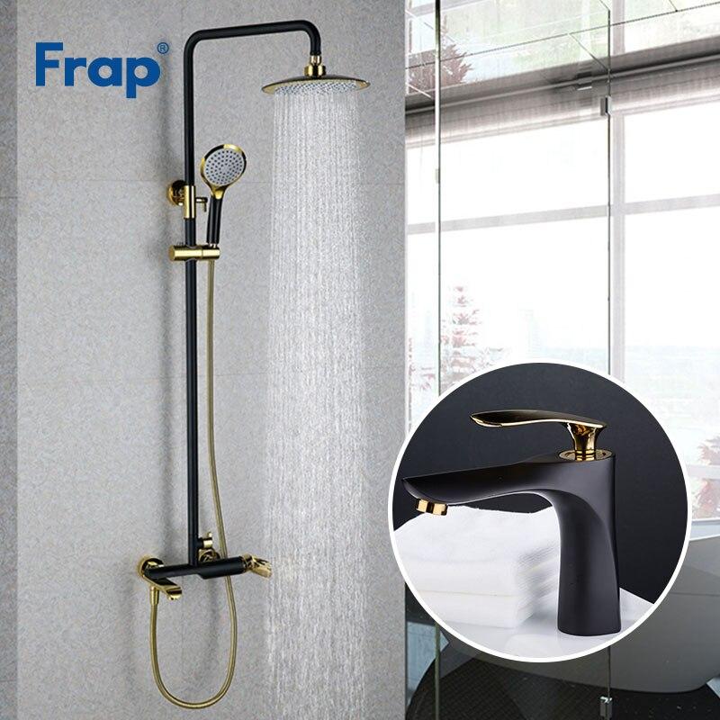 Frap черный золотой Ванная комната смеситель для душа с бассейна кран холодной и горячей воды смесителя настенные смесители кран Y24001 + Y10057