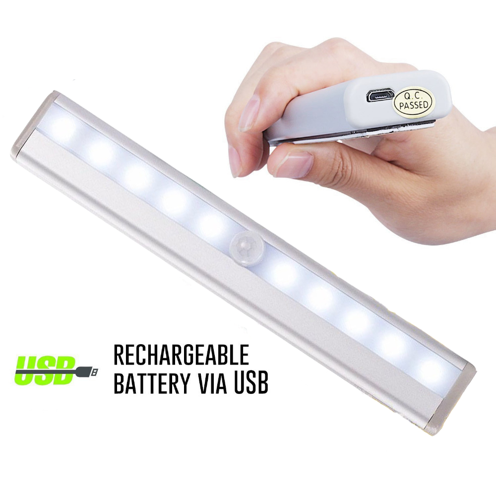 10 LED USB Rechargeable Night Light With PIR Motion Sensor Under Cabinet Light Kitchen Wardrobe Closet Night Light With Magnetic