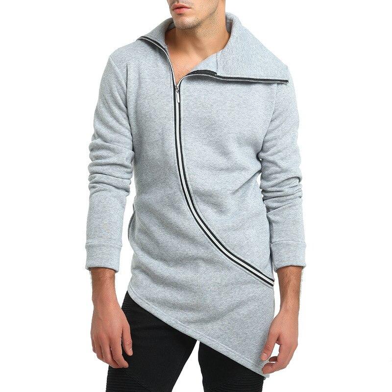 Men's Fashion Solid Color Personality Oblique Zipper HOODIE Coat men casual  3colour
