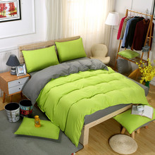 Green/Gray Double Solid Color 4PCS Bedding Sets Twin/Queen Size Bedspread Bed Linen Sheets Pillow cover Duvet Cover Set