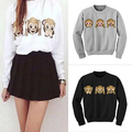 Women's 3D Emoji Monkeys Coat Long Sleeve Outerwear Sweatshirts Hoodie Jacket