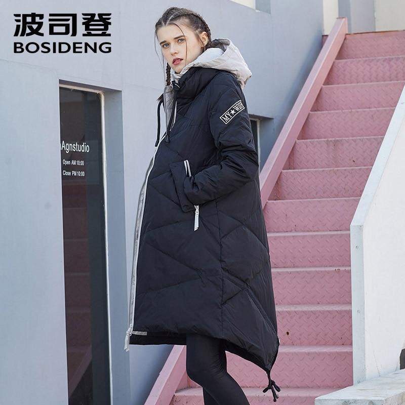 BOSIDENG winter down jacket for women long down coat warm parka thick hood outwear diamond texture waterproof B1601250