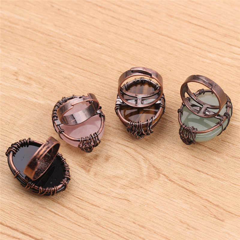 Vintage โบราณแหวนนิ้วมือเครื่องประดับไข่รูปร่างหินธรรมชาติลูกปัด Wire Wrapped Tree of Life แหวน Anillos