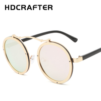 HDCRAFTER 2017 New Round Steampunk Sunglasses Men Vintage Metal Frame Eyewear Accessories Women Sun Glasses