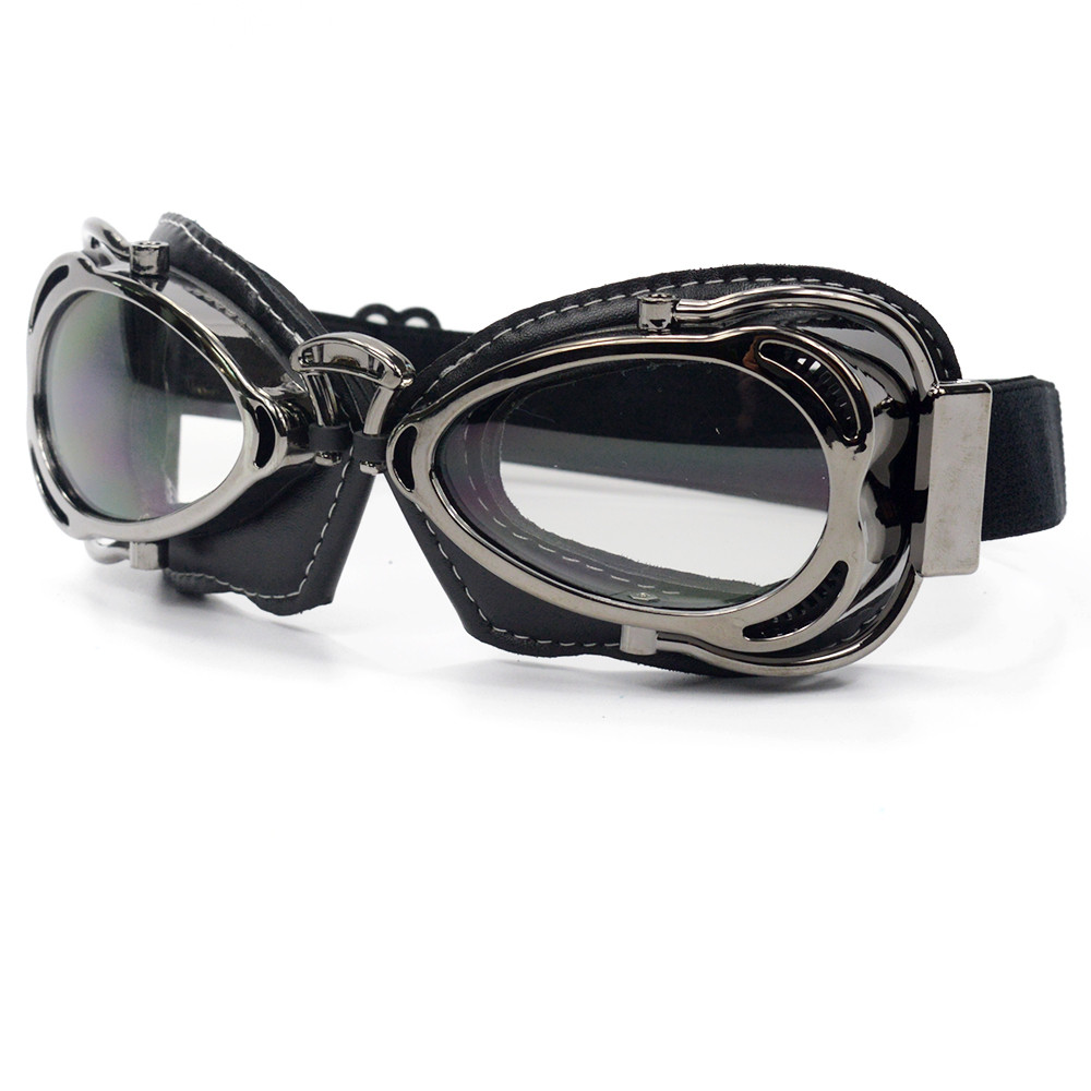 Vintage Pilot Goggles Motorcycle Goggles Helmets Women's Sunglasses WWII Glasses Retro Lens For Harley Scooter 6 Colors