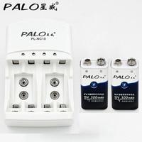 PALO Hot Sell 4 Slots 1 2v AA AAA 9v 6F22 Li Ion Ni Mh Ni