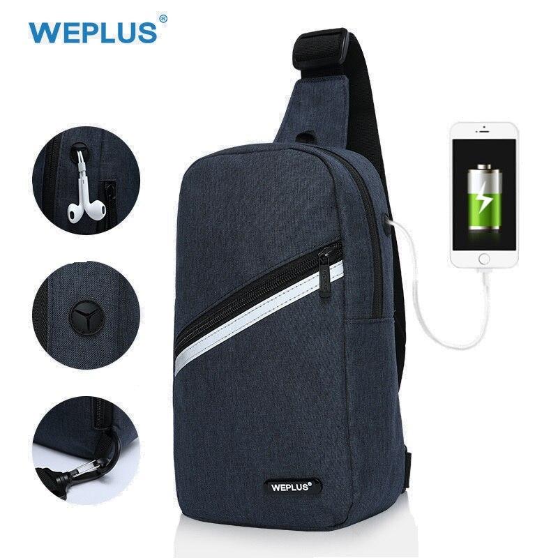 WEPLUS Umhängetaschen für Männer Frauen Wasserdichte Brust Tasche Pack Anti Dieb Schulter Tasche Kleine Tasche für Mann USB Kopfhörer jack