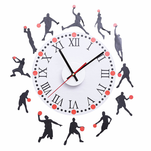 DIY Wall Sticker Clock Basketball Sketch Pattern Creative Removable Wall  Clock For Home Office Decor
