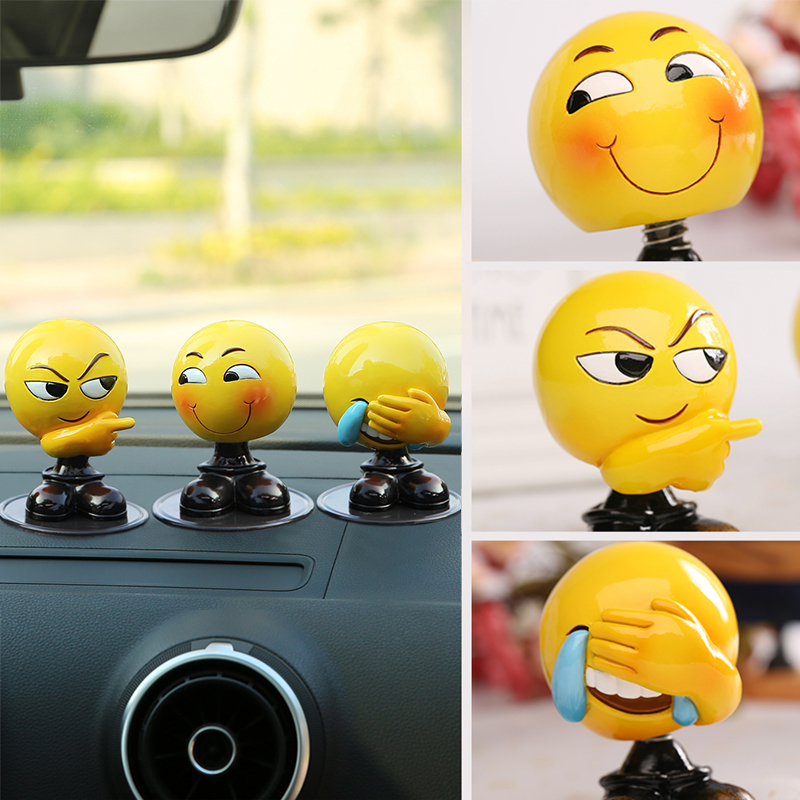 Independent Car Ornaments Creative Emoji Expression Dolls Cute Shaking Head Emoji Figure Model Doll Automobile Decoration Accessories Gifts Ornaments Interior Accessories