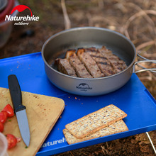 Naturehike Titanium Frying Pan Bowl Plate with Folding Handle Outdoor Camping Picnic Tableware Kitchenware frying pan grill камская tableware 28 cm with cover masher