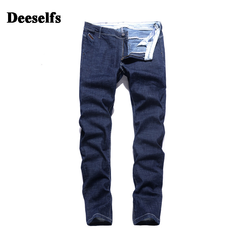 High Grade Deeselfs Brand Clothing Casual Distressed Solid Blue Jeans Men Mid Stripe Slim Fit Denim Men`s Jeans Pants S7120 classic mid stripe men s buttons jeans ripped slim fit denim pants male high quality vintage brand clothing moto jeans men rl617