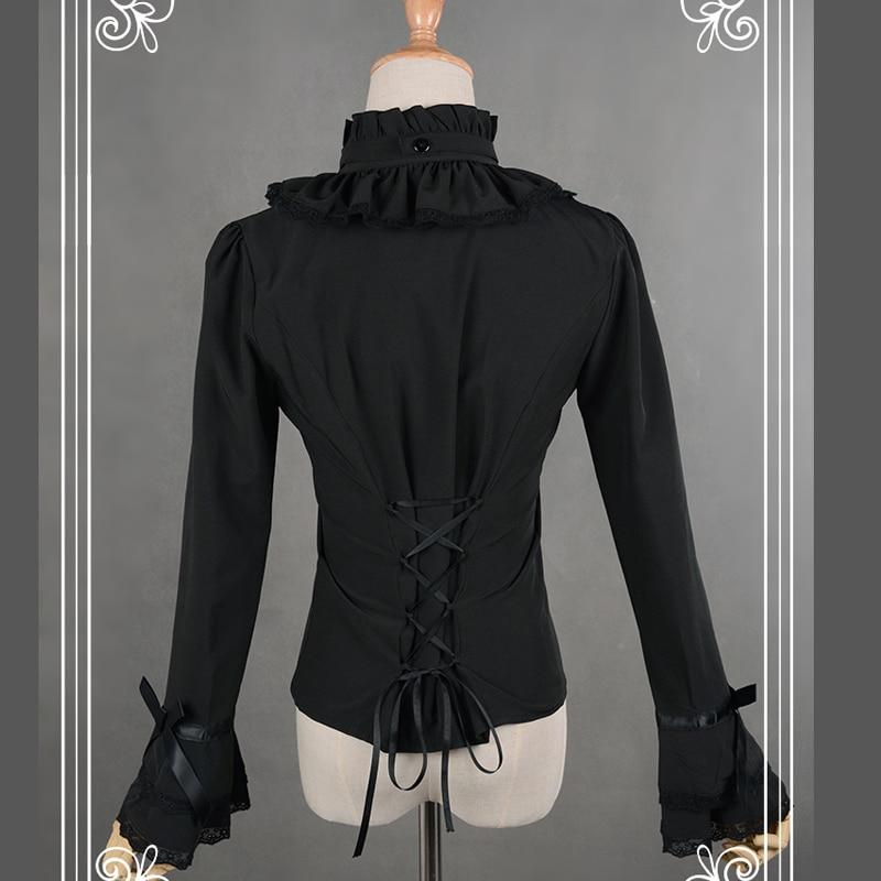თეთრი / შავი Chiffon Blouse Slim იარაღი - ქალის ტანსაცმელი - ფოტო 5