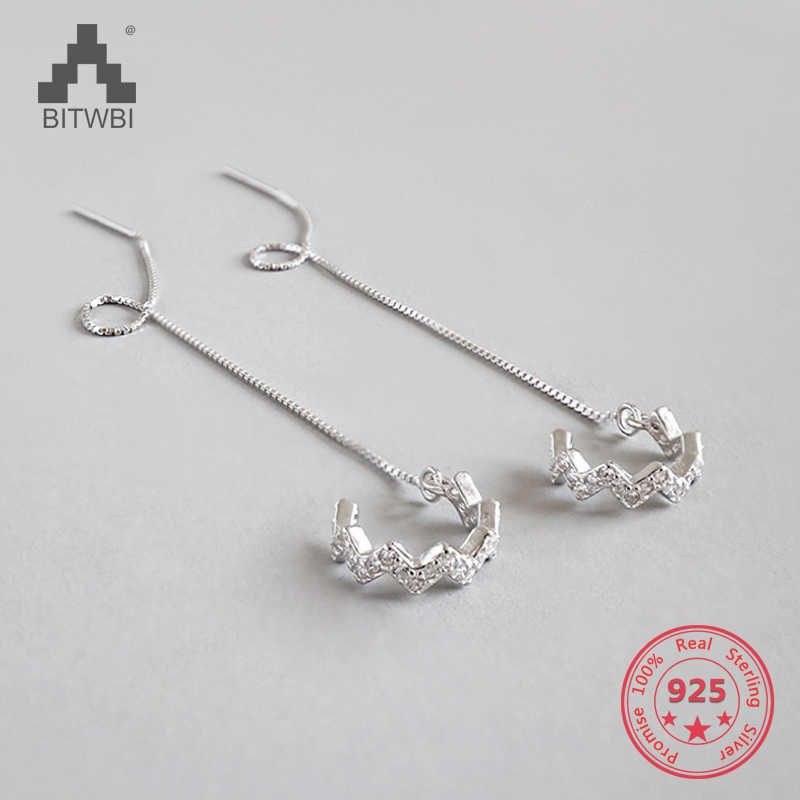 New Design Personality Fashion Women 925 Sterling Silver Inlay Zircon The Waves Linellae Earrings Jewelry Accessories