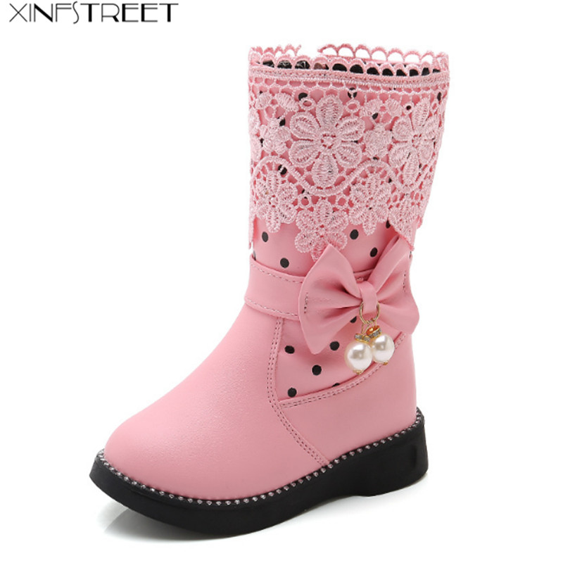 Xinfstreet Gilrs Boots Winter Size 26-37 Ankle Zip Cute Bow Snow Boots For Girls Princess Pu Leather Warm Kids Boots Size 27-37