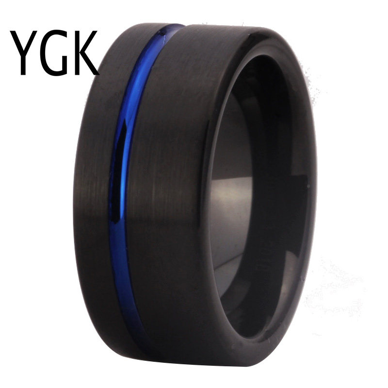 New Arrival Classic Rings Fashion Tungsten Wedding Ring For Women Men's Black Plating With Blue Grooved engagement Ring PARTY коммутатор hp 2530 8g j9777a j9777a
