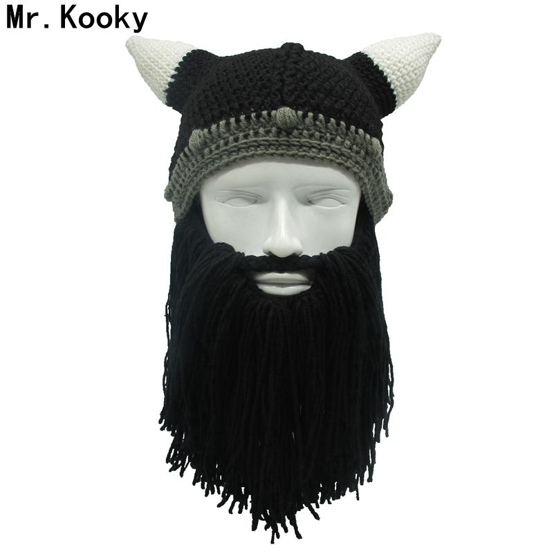 Mr. Kooky Barbar Viking Beanie Bart Horn Handgefertigten Hut Stricken Winter warme Mütze Männer Frauen Geburtstag Coole Lustige Gag Party Weihnachten geschenke