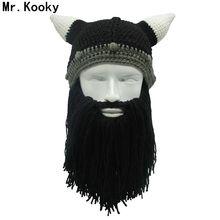 8826c1cea31 Mr.Kooky Barbarian Viking Beanie Beard Horn Hat Handmade Knit Winter Warm Cap  Men Women