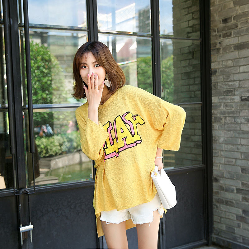 9492eb5b6ba26d LUOSHA Women Autumn Oversize Letter Print Knitted Asymetric Pullover  Sweater Korean Style Loose Thin Jumper Tops Pull Femme2018-in Pullovers  from Women s ...