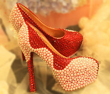19ss Pearl rhinestone super high heels wine red bridal dress crystal diamond wedding platform shallow women's shoes(China)