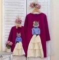 Varejo primavera Outono 2017 Meninas vestido Mãe Da Criança Bonito do gato produtos de qualidade roupa pai-filho filha moda splicing XH2921