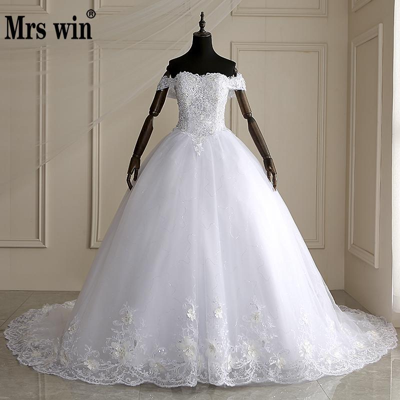 Mrs Win 2019 High Quality Cap Sleeve Wedding Dresses Lace Up Bride Dres Vestidos De Novia
