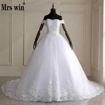 Mrs Win 2019 High Quality Cap Sleeve Wedding Dresses Lace Up Bride Dres Vestidos De Novia Plus Size Customized Dress - DISCOUNT ITEM  31% OFF Weddings & Events