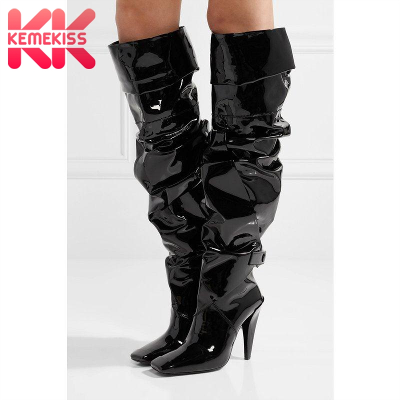 KemeKiss Fashion Women High Heel Boots Patent Leather Catwalk Thin Heel Boots Sexy Party Club Shoes Women Footwear Size 33-50KemeKiss Fashion Women High Heel Boots Patent Leather Catwalk Thin Heel Boots Sexy Party Club Shoes Women Footwear Size 33-50