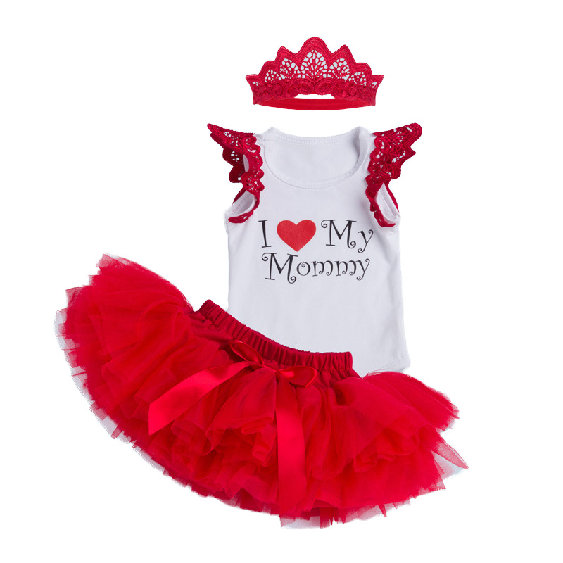 Sleeveless Baby Sets 1st Girl Birthday Romper Tutu Skirts Headband 3pcs Sets Roupas De Bebe Red I love Mummy Festival Clothes
