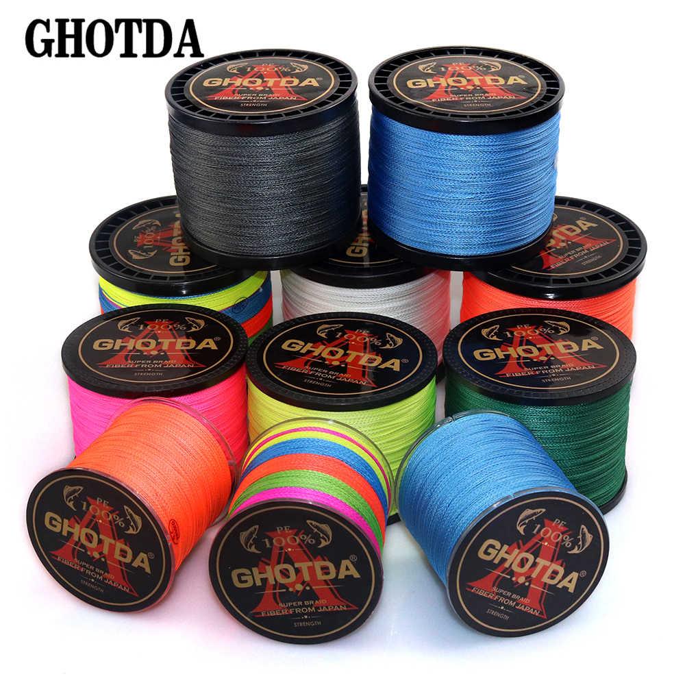 Hilo de pescar trenzado GHOTDA, 300M, 500M, 1000M, 4 hebras, hilo multifilamento para pesca de carpa, 10-120lb