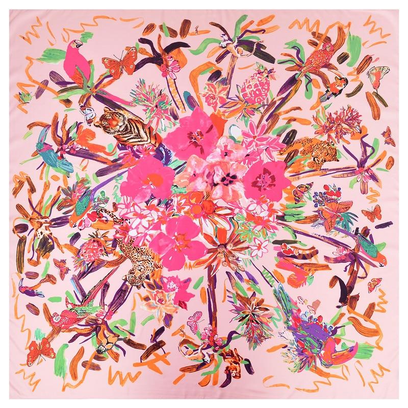 POBING 130CM*130CM Silk   Scarf   Women Large Shawls Luxury Floral Birds Graffiti Square   Scarves   Echarpes Foulards Femme Neckerchief
