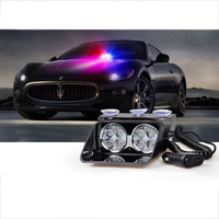 24W Windshield Led Strobe Light Car Flash Signal Emergency Fireman Police Beacon Warning Light Red Blue