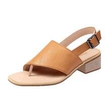Gladiator Sandals Summer Office High Heels Shoes Woman Buckle Strap Pumps Casual Women Shoes Plus Size 35-42 недорого