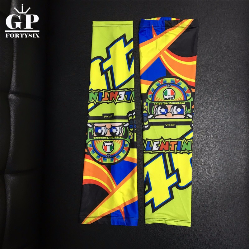 Motorcycle Stretchy Breathable Sunscreen arm sleeve cuffs VR46 the doctor Valen Rossi arm warmer Outdoor Riding sleeve arm guard