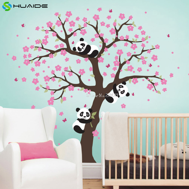 Mignon Panda Et Cerisier Fleur Arbre Sticker Mural Pour Pépinière Grand Arbre  Stickers Muraux Pour Enfants