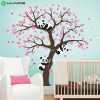 Cute Panda And Cherry Blossom Tree Wall Decal For Nursery Large Tree Wall Stickers For Kids
