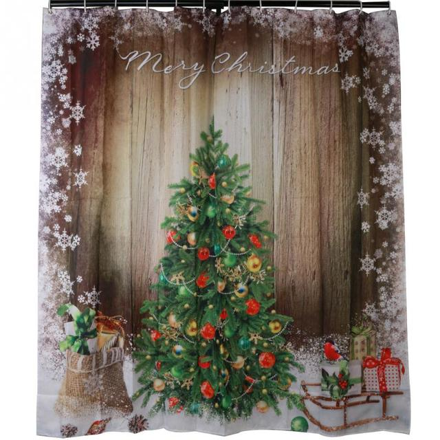 fashion 3d christmas tree presents rustic wood fabric shower curtain gifts sleigh snowflake waterproof - Rustic Wood Christmas Tree