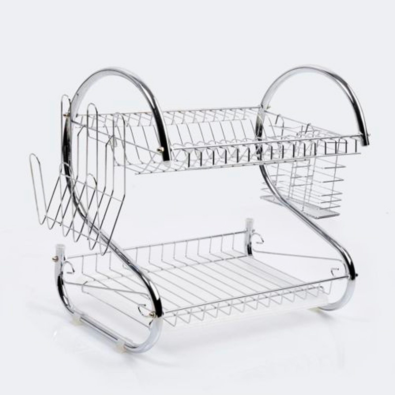 2 Tier Chrome Plate Dish Cutlery Cup Drainer Rack Drip Tray Plates Holder Silver Kitchen Storage Shelf KC36491-in Dinnerware Sets from Home \u0026 Garden on ...  sc 1 st  AliExpress.com & 2 Tier Chrome Plate Dish Cutlery Cup Drainer Rack Drip Tray Plates ...