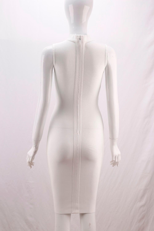 Cordón 2018 Bandage Elástico Sexy Bodycon Las Sólido Mangas Hacia Punto Ahueca Fuera Corte Hecho Sin Vestido Mujeres L Blanco Correa De 10 UAIxwn7qO