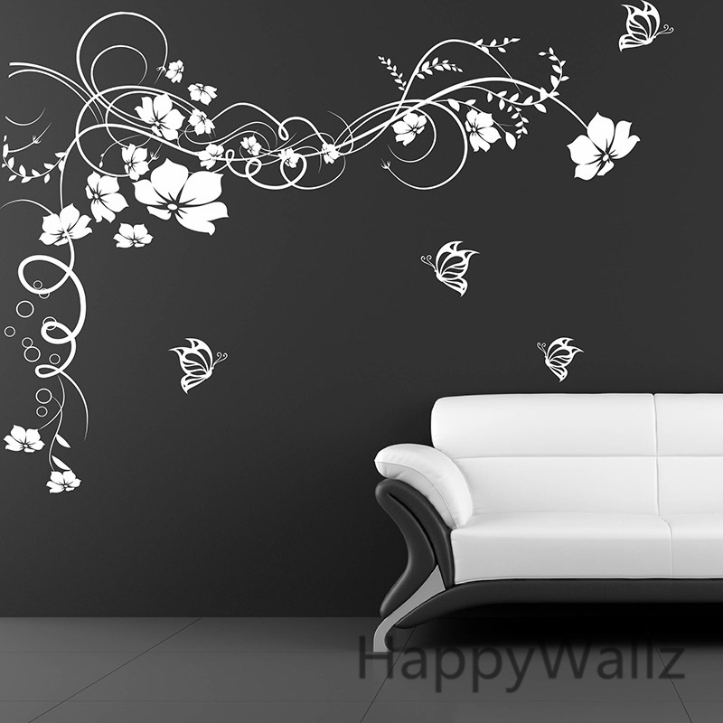 Pink flowers butterfly bathroom decor removable large wall ...