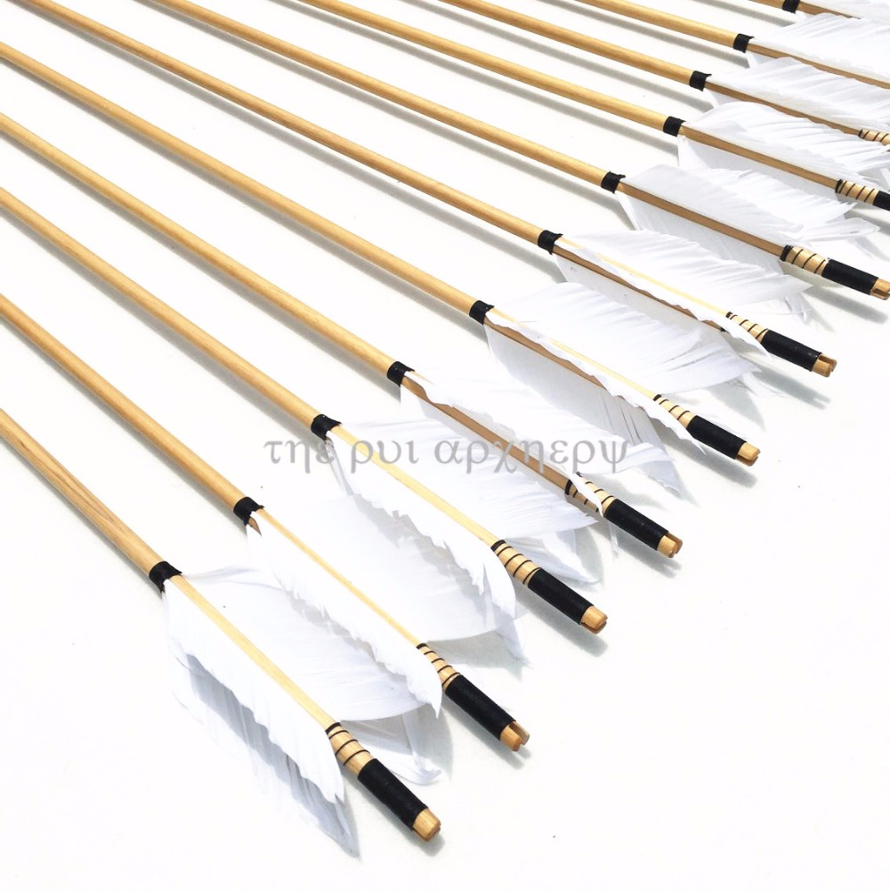 For Longbow Or Recurve Bow Traditional WoodenArrows Pure Handmade Fletching With 5-Inch Feather 6/12/24pcs