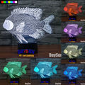 New Novelty 3D Paper-cut Fish Night Light 7 Color Change LED Table Lamp Kids Xmas Decor Gift