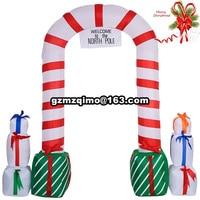 W6.56xH6.56ft פופולרי סנטה מתנפח חג המולד קשת למכירה חג המולד מתנפח סנטה Cluas קשת דלת קמורה לפוצץ