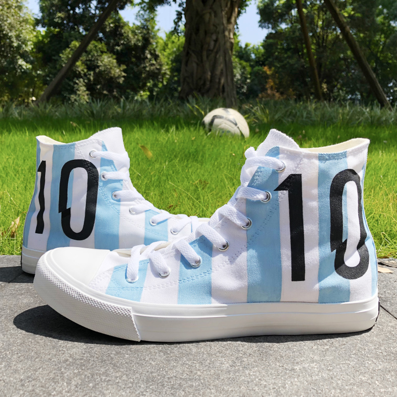9d9b858e772 Wen Design Football Soccer Number 10 Argentina National Team Hand Painted  Shoes White Canvas High Top Sneakers Unisex Skateboard