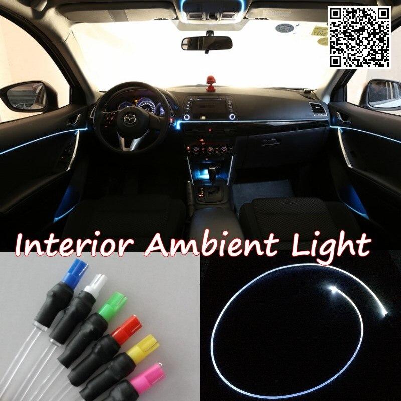For Peugeot RCZ 2009-2015 Car Interior Ambient Light Panel illumination For Car Inside Tuning Cool Strip Light Optic Fiber Band